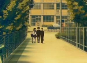 アニメ「氷菓」第1話 える(自転車は体の右)、奉太郎、里志