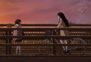 アニメ「氷菓」第21話 える(自転車は体の右)と摩耶花
