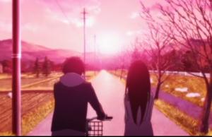 アニメ「氷菓」第22話 自転車を右において歩く奉太郎とえる
