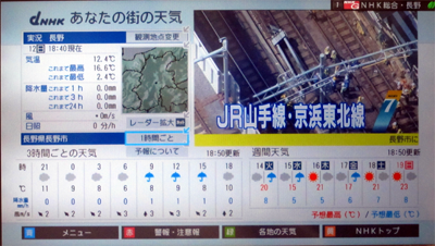 NHKデータ放送 2015 年版気象情報画面