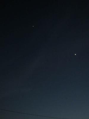 金星(東方最大離角をややすぎて)と木星
