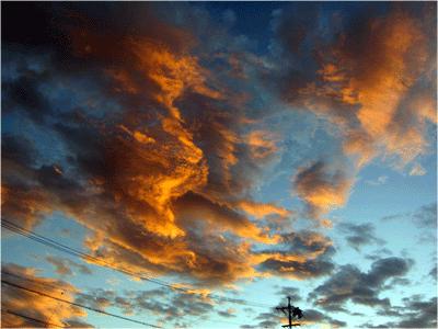 波打つような朝焼けの雲